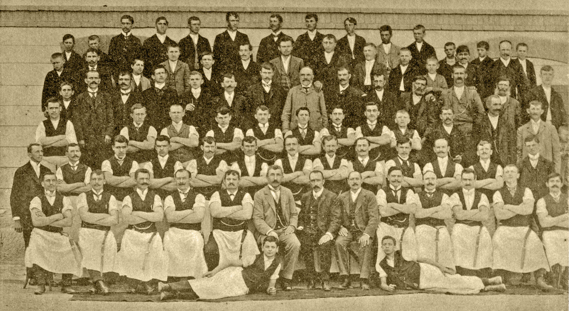 One part of factory workers in 1906.